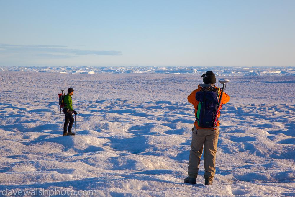 Scientists hiking across Humboldt Glacier