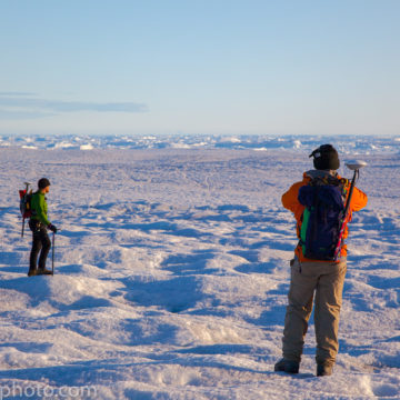 Scientists hiking across Humboldt Glacier