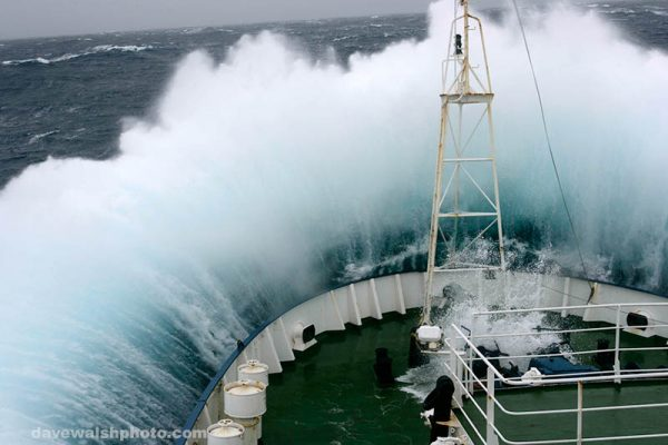Greenpeace ship Esperanza on her route towards Antarctica in a Force 10 storm.