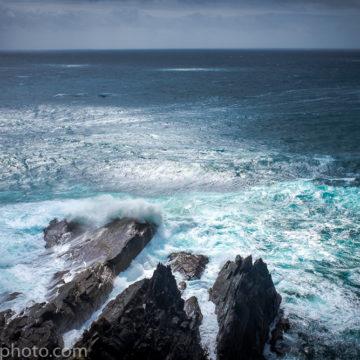 Waves breaking on rocks, Mizen Head, Cork, Ireland