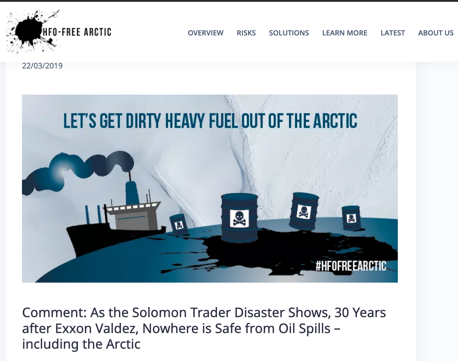 As the Solomon Trader Disaster Shows, 30 Years after Exxon Valdez, Nowhere is Safe from Oil Spills - including the Arctic